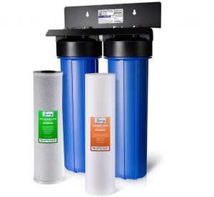 """iSpring WGB22B 2-Stage 4.5"""" x 20"""" Whole House Water Filtration System Big Blue with Fine Sediment and Carbon Block Filters - Reduces up to 99% Chlorine"""